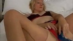 hot blonde mature plays with dildo