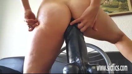 Insane XXL dildo fucking amateur MILF