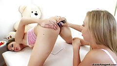 Sweet young lesbian girls with very hungry asses