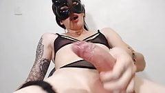 Hot CB ladyboy with huge cock masturbates