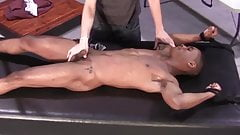 Skinny black sub tied to table and flogged by young Dom