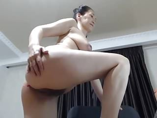 Sexy asian mature cums hard