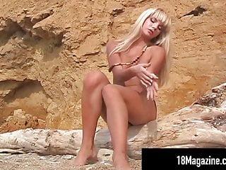 18 Magazine - Nastya Girl Poses On Beach Topless!
