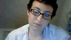 With glasses short hair handjob brunette