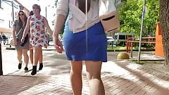 Ass in blue skirt