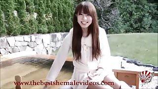 Japanese Shemale Yuko Momohi Outdoor Solo