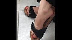 Blonde Teen dangling her sexy stinky Feet