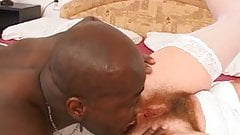 Brunette chick likes a big black one up her ass