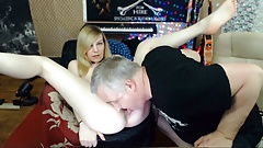 Old Man Lee Eats Young Roxy's Ass Before Using Her Mouth