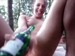 Teen champange bottle bates outdoor amateur