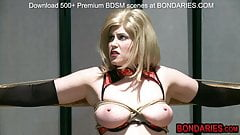 Slave bitch gets hot wax on her clit and deepthroated's Thumb