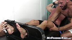 Restrained bold hunk receives a tickling torment