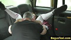 Brit spex babe pussyfucked for taxi fair