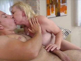 Granny sucks and fucks young guy and takes a facial