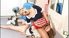 Pantyhosed Maid gives extras....