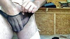 Wanking in my wife's sexy designer underwear