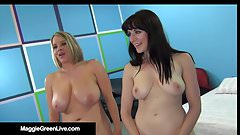 Busty Blonde Maggie Green & UK Samantha Bentley Share A Dick