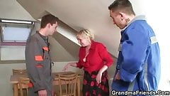 Granny offers her old body for 2 guys