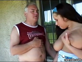 Old Fart And Busty Brunette
