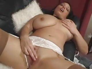 Big tit babe pleasures herself