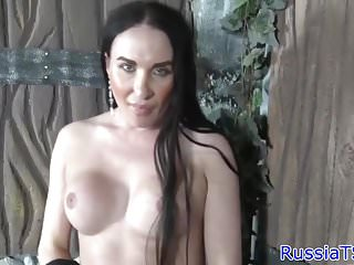 Preview 1 of Russian trap toying tight butt while jerking