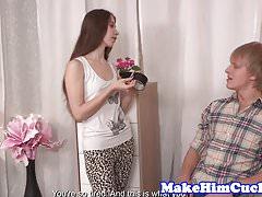 Cuckolding girlfriend punishes her boyfriend