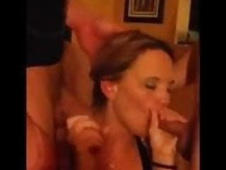 Double Blowjob Slutwife Blows Hubby's Friends