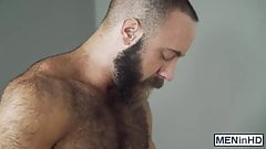 Hairy muscular hunk cheats his wife with a handsome gay guy