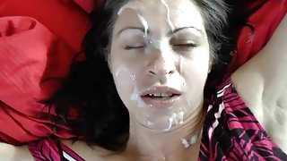 Milf takes a huge messy facial