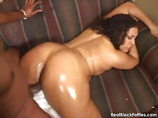 Well oiled black BBW getting a proper rough fucking