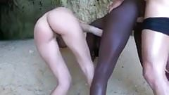 African Ebony and Blonde share a white cock on the beach BWC