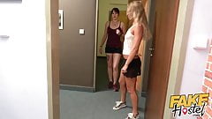 Fake Hostel Mature lesbian woman bosses around sweaty teens