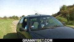 70 yo grandma getting nailed in the car