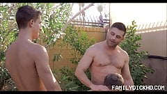 Jock And Twink Stepson's Threesome With Step Dad
