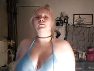 Young chubby girl shows her big boobs