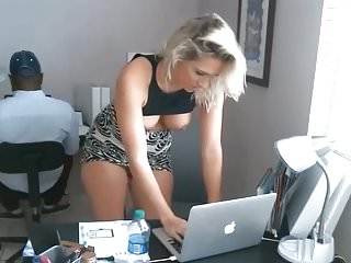 Whore shows tits at work