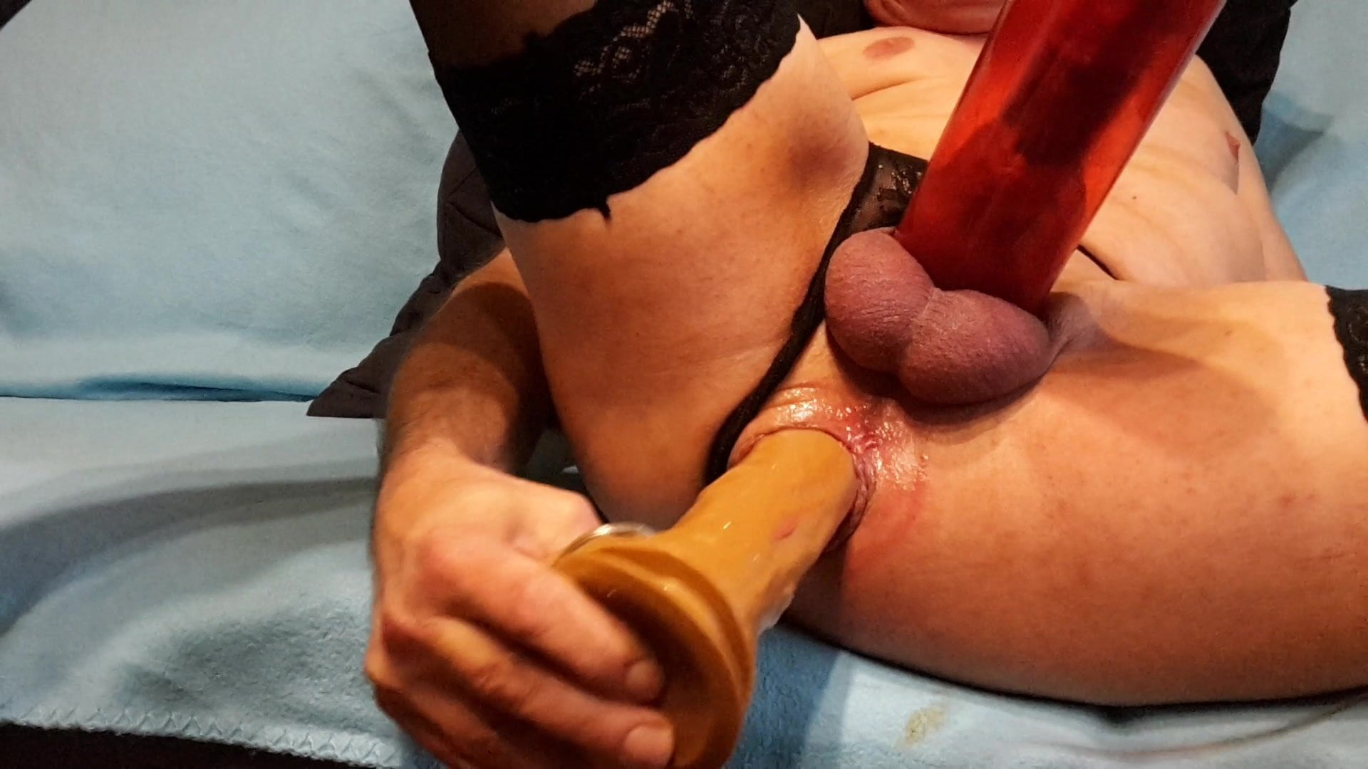 Cock pumping and dildo assfucking