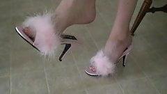 She's Dangling Pink Marabou Slippers