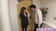 Aiko Hirose sucking and licking boner