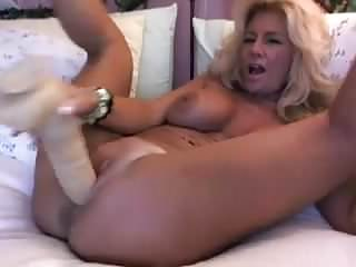 Blonde Mature On Webcam Plays With Her Dildos