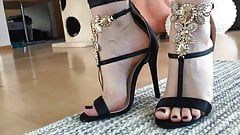 Walk in sexy black heels