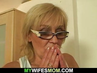 Old blonde sucking and riding his young cock