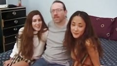 Classic oldman facialize young threeway babes
