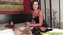 Handjob MILF milking cock in stockings's Thumb