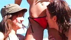 three hot beach lesbians