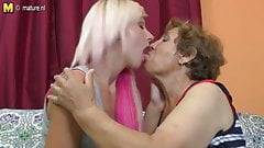 Old lesbian grandmother fucks a cute girl