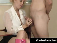 Super Star Charlee Chase Gives Bubblegum Handjob & Blowjob!