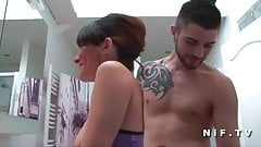 Young french brunette analized by her roommate in bathroom