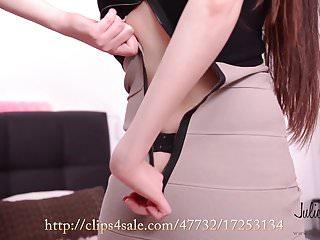 Rebecca Volpetti orgasm with vibrator, high heels, stockings