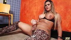 Shemale Sasha Martoy strokes her fat dick